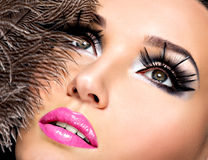 Beautiful woman with bright professional make-up Royalty Free Stock Images