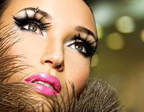 Beautiful woman with bright professional make-up Stock Photography
