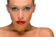 Beautiful woman with bright red lips Stock Photo