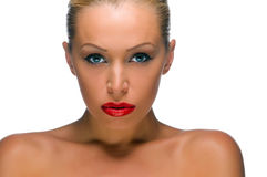 Beautiful woman with bright red lips Royalty Free Stock Images