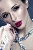 Beautiful Woman. Bright Red Lips Makeup. Chain as Jewelry. Glamour Beauty Portrait. Attractive Young Model Stock Image