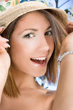 Beautiful woman with broad-brim hat Stock Image