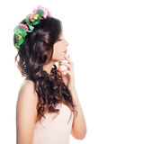 Beautiful Woman with Brown Hair with Flowers stock image