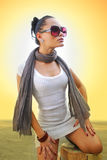 Beautiful woman with brown scarf Stock Photography