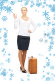 Beautiful woman with brown suitcase Stock Photos