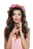 Beautiful Woman Brunette with Perfect Spring Makeup Stock Image