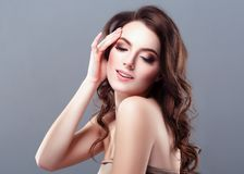 Beautiful Woman Brunette Red Lips Healthy Beauty Skin Smile. Spa royalty free stock photography