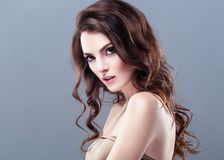 Beautiful Woman Brunette Red Lips Healthy Beauty Skin Smile. Spa royalty free stock images