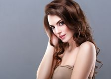 Beautiful Woman Brunette Red Lips Healthy Beauty Skin Smile. Spa royalty free stock photos