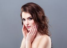 Beautiful Woman Brunette Red Lips Healthy Beauty Skin Smile. Spa stock photos
