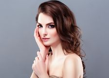 Beautiful Woman Brunette Red Lips Healthy Beauty Skin Smile. Spa stock image