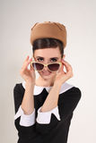 Beautiful woman brunette with sunglasses in retro style Royalty Free Stock Photography