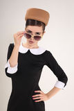 Beautiful woman brunette with sunglasses in retro  Stock Images