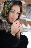 The beautiful woman brunette in winter Royalty Free Stock Photos