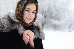 The beautiful woman brunette in winter Stock Photo