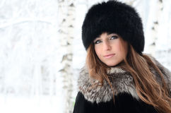 The beautiful woman brunette in winter Stock Photos
