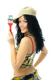 Beautiful woman with a brush Royalty Free Stock Photography