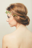 Beautiful woman with bun and tiara Royalty Free Stock Image