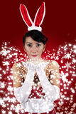 Beautiful woman with bunny hat Stock Photo