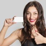 Beautiful woman with business card Stock Photos