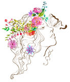 Beautiful woman with butterfly and flowers,doodle illustration w Stock Photography