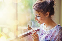Beautiful woman with butterfly. Young  beautiful woman with butterfly Royalty Free Stock Photography