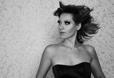 Beautiful woman bw portrait Stock Photo