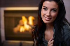 Free Beautiful Woman By Fireplace Stock Photography - 25700942