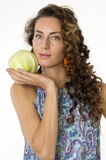 Beautiful woman with a cabbage Stock Image