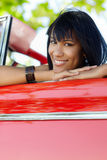 Beautiful woman in cabriolet car Royalty Free Stock Photography