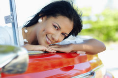 Beautiful woman in cabriolet car Royalty Free Stock Images