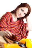 Beautiful woman  in cafe Royalty Free Stock Photography