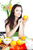 Beautiful woman  in cafe Stock Photography
