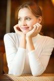 Beautiful woman in cafe Stock Photos