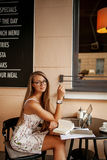 Beautiful woman in cafe with laptop Stock Photos