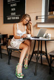 Beautiful woman in cafe with laptop Stock Photography