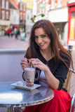 Beautiful woman at cafe Royalty Free Stock Photography