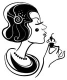 Beautiful woman with cake. Black and white illustration Royalty Free Stock Image