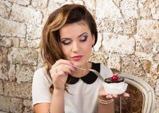Beautiful woman with cake Stock Photos
