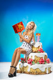 Beautiful woman with cake Royalty Free Stock Photography
