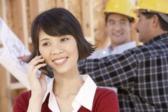 Beautiful Woman On Call Stock Photo