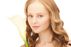 Beautiful woman with calla flower Stock Photo