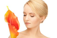 Beautiful woman with calla flower Royalty Free Stock Photo