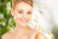 Beautiful woman with calla flower Stock Images