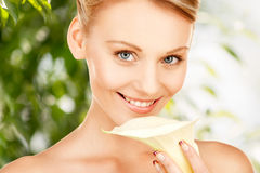 Beautiful woman with calla flower Royalty Free Stock Images