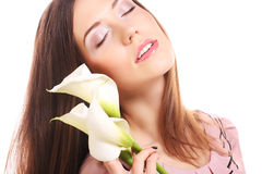 Beautiful woman with calla flower Stock Photography