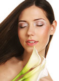 Beautiful woman with calla flower Royalty Free Stock Image