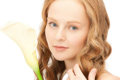 Beautiful woman with calla flower Royalty Free Stock Photos