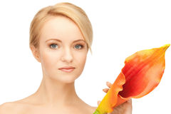 Beautiful woman with calla flower Stock Image
