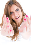 Beautiful woman calling come here and stretch out hands Stock Image
